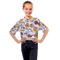 Honey Seamless Pattern Kids Mock Neck Tee