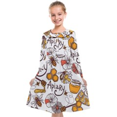 Honey Seamless Pattern Kids  Midi Sailor Dress
