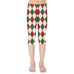 Christmas Argyle Pattern Kids  Capri Leggings  by Sobalvarro