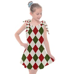 Christmas Argyle Pattern Kids  Tie Up Tunic Dress by Sobalvarro