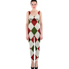 Christmas Argyle Pattern One Piece Catsuit by Sobalvarro