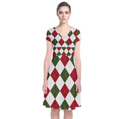 Christmas Argyle Pattern Short Sleeve Front Wrap Dress by Sobalvarro