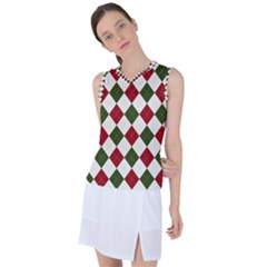 Christmas Argyle Pattern Women s Sleeveless Sports Top by Sobalvarro