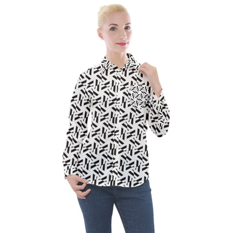 Geometric Pattern 71 Publicdomainvectors Org (1) Women s Long Sleeve Pocket Shirt by Sobalvarro