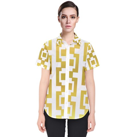 Gold Square Pattern  Arvin61r58 Women s Short Sleeve Shirt by Sobalvarro