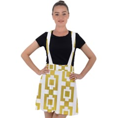 Gold Square Pattern  Arvin61r58 Velvet Suspender Skater Skirt by Sobalvarro