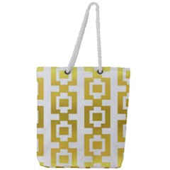 Gold Square Pattern  Arvin61r58 Full Print Rope Handle Tote (large) by Sobalvarro
