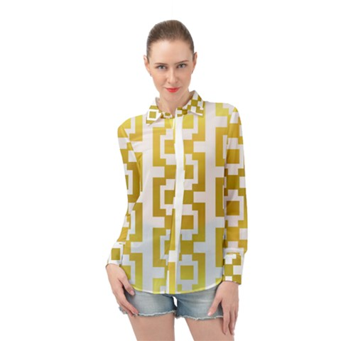 Gold Square Pattern  Arvin61r58 Long Sleeve Chiffon Shirt by Sobalvarro