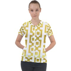 Gold Square Pattern  Arvin61r58 Short Sleeve Zip Up Jacket by Sobalvarro