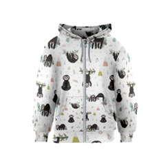 Cute Sloths Kids  Zipper Hoodie by Sobalvarro