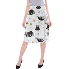 Cute Sloths Midi Beach Skirt by Sobalvarro