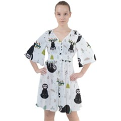 Cute Sloths Boho Button Up Dress by Sobalvarro