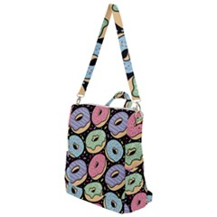 Colorful Donut Seamless Pattern On Black Vector Crossbody Backpack by Sobalvarro