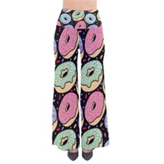 Colorful Donut Seamless Pattern On Black Vector So Vintage Palazzo Pants by Sobalvarro