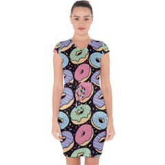 Colorful Donut Seamless Pattern On Black Vector Capsleeve Drawstring Dress