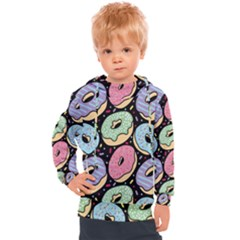 Colorful Donut Seamless Pattern On Black Vector Kids  Hooded Pullover by Sobalvarro