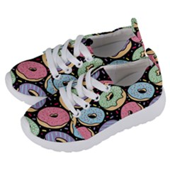 Colorful Donut Seamless Pattern On Black Vector Kids  Lightweight Sports Shoes by Sobalvarro