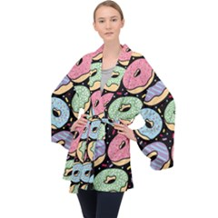 Colorful Donut Seamless Pattern On Black Vector Long Sleeve Velvet Kimono  by Sobalvarro