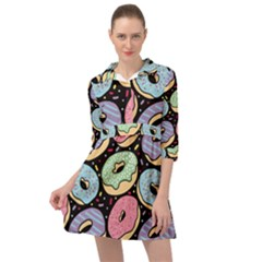 Colorful Donut Seamless Pattern On Black Vector Mini Skater Shirt Dress by Sobalvarro