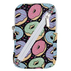 Colorful Donut Seamless Pattern On Black Vector Belt Pouch Bag (large) by Sobalvarro