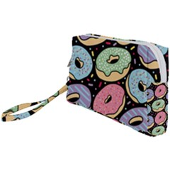 Colorful Donut Seamless Pattern On Black Vector Wristlet Pouch Bag (small) by Sobalvarro