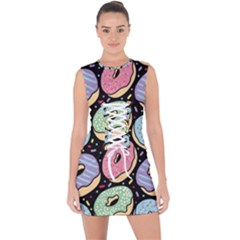 Colorful Donut Seamless Pattern On Black Vector Lace Up Front Bodycon Dress