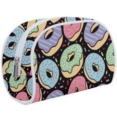 Colorful Donut Seamless Pattern On Black Vector Makeup Case (large) by Sobalvarro