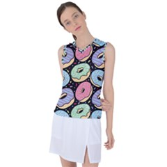Colorful Donut Seamless Pattern On Black Vector Women s Sleeveless Sports Top by Sobalvarro