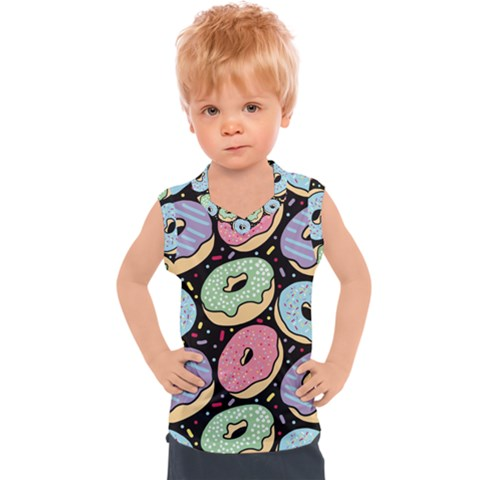 Colorful Donut Seamless Pattern On Black Vector Kids  Sport Tank Top by Sobalvarro