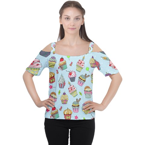 Cupcake Doodle Pattern Cutout Shoulder Tee by Sobalvarro
