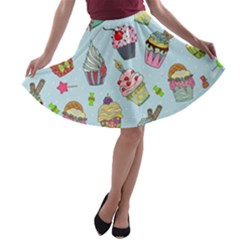 Cupcake Doodle Pattern A-line Skater Skirt by Sobalvarro