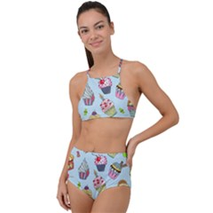 Cupcake Doodle Pattern High Waist Tankini Set by Sobalvarro