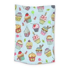 Cupcake Doodle Pattern Small Tapestry by Sobalvarro