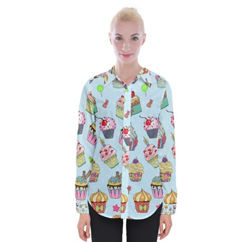 Cupcake Doodle Pattern Womens Long Sleeve Shirt by Sobalvarro