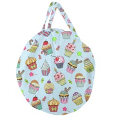 Cupcake Doodle Pattern Giant Round Zipper Tote by Sobalvarro