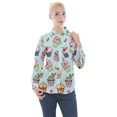 Cupcake Doodle Pattern Women s Long Sleeve Pocket Shirt by Sobalvarro