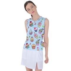 Cupcake Doodle Pattern Women s Sleeveless Sports Top by Sobalvarro