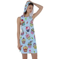 Cupcake Doodle Pattern Racer Back Hoodie Dress by Sobalvarro