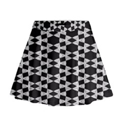 Black And White Triangles Mini Flare Skirt