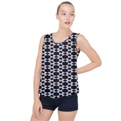 Black And White Triangles Bubble Hem Chiffon Tank Top