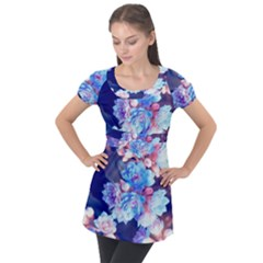 Flowers Puff Sleeve Tunic Top by Sparkle