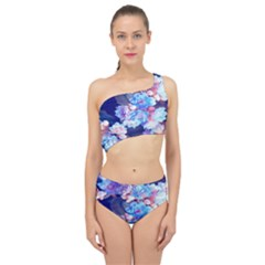 Flowers Spliced Up Two Piece Swimsuit by Sparkle