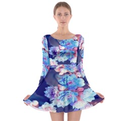 Flowers Long Sleeve Skater Dress