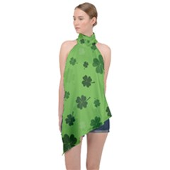 St Patricks Day Halter Asymmetric Satin Top