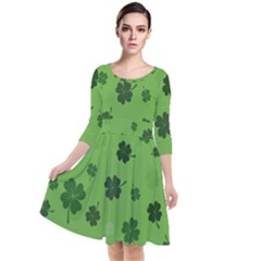 St Patricks Day Quarter Sleeve Waist Band Dress