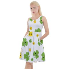 St Patricks Day Knee Length Skater Dress With Pockets by Valentinaart