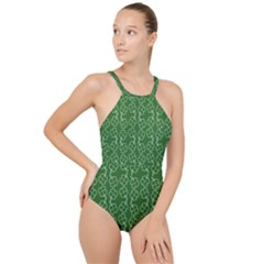 St Patricks Day High Neck One Piece Swimsuit