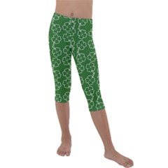 St Patricks Day Kids  Lightweight Velour Capri Leggings  by Valentinaart
