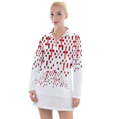 Red And White Matrix Patterned Design Women s Long Sleeve Casual Dress by dflcprintsclothing