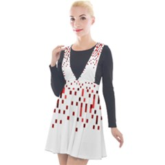 Red And White Matrix Patterned Design Plunge Pinafore Velour Dress by dflcprintsclothing